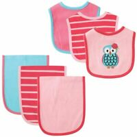 Hudson Baby Bib and Burp Cloth, 6-Piece Set, Owl