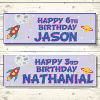 2 PERSONALISED 800mm x 297xx SPACE ROCKET BIRTHDAY BANNERS - ANY NAME - ANY AGE