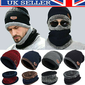 Men's Beanie Hat Scarf Set Neck Cover Winter Warm Fleece Knitted Thick Ski Cap~