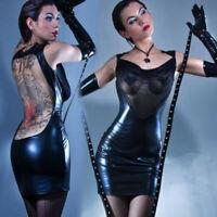 Women Black Faux Leather Fetish Lingerie Wet Look Sheer Mini Dress Clubwear