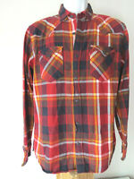 Red LEVI'S LONG SLEEVE PLAID FLANNEL Button SHIRT Small Levi Strauss grunge