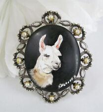 Hand Painted Artist Signed Llama Alpaca Cameo Faux Pearl Brooch Pendant