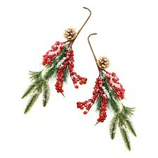 Pack of 2 Artificial Red Holly Berry Branch Christmas Tree Decoration