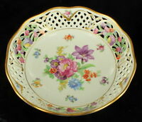 ANTIQUE SCHUMANN DRESDEN LINE RETICULATED ROUND BOWL FLOWERS GOLD GILT BEAUTIFUL