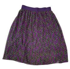 Lularoe Lola Lined Skirt Purple feathers pattern Size Medium