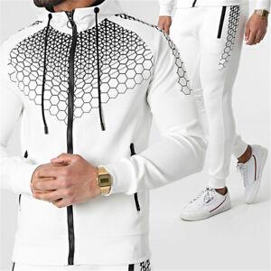 Mens Tracksuit 2 Piece Casual Pants hoodie Sweatsuit Hip Hop Sweatshirt Set