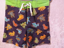 "Gymboree ""Everglades"" Frog Print Navy Blue Swimsuit Shorts Trunks, 2T"