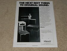 Klipsch 1978 Speaker Ad, La Scala, Klipschorn, Belle, Heresy, 1 page, Article
