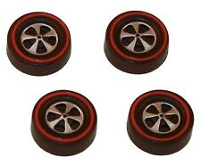 4 Brightvision Redline Wheels - 4 Medium Cap Deep Dish Dull Chrome Style