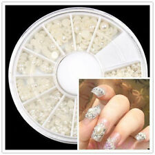 warehouse HS22 round Wheel Case Nail Art Decoration HALF FACE Pearl White Case