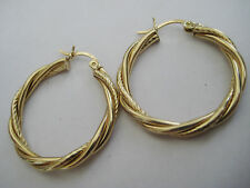 """Vintage 14k solid yellow gold twisted rope tube hoop earrings 1"""" diameter"""