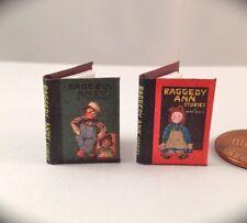 RAGGEDY ANN & ANDY STORIES Miniature Books 2 Dollhouse 1:12 Scale Readable Book