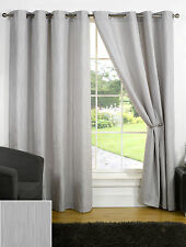 Provence Eyelet Ready Made Ring Top Curtains Pewter (Silver)