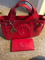 Ladies Red Armani Bag And Purse