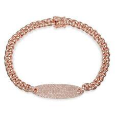 14K Rose Gold Diamond Chain Link Bracelet Cuban Rope ID Bar Round 0.56CT Pave