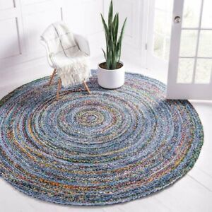 Rug 100%Natural cotton handmade reversible modern living area carpet decor rugs