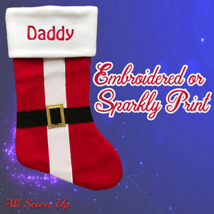 Personalised Christmas Stocking Luxury Embroidered or Printed  Xmas Sock