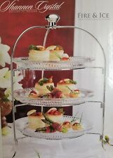 Shannon Crystal Godinger 3 Tier Server with 3 Plates Lead Crystal Wedding Party