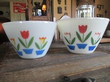 Two Large Vintage Fire King Ovenware Mixing Bowls Tulip Design