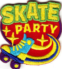 """""""SKATE PARTY"""" PATCH- Iron On Embroidered Patch - Skates -  Sports  - Words"""