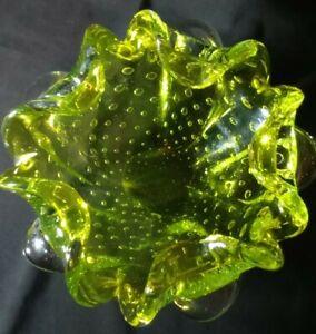 Vintage Murano Bullicante Controlled Bubble Neon Green Art Glass Ashtray