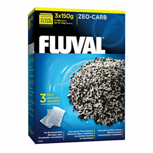 Fluval Filter Media ZEO-CARB 3 x 150g Eliminates Odors & Removes Toxic Ammonia