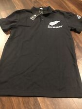 New Adidas New Zealand All Blacks Rugby Polo Size Large Black White