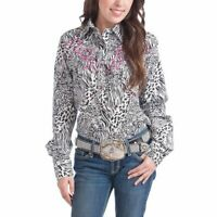 Sherry Cervi Collection Black & Pink Safari Button-Up Size M Western Shirt