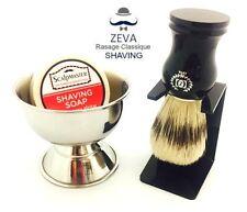 ZEVA SHAVING BRUSH WITH DRIP STAND SOAP BOWL COMPLETE GIFT SET FOR MEN