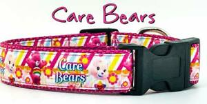 "Care Bears dog collar handmade adjustable buckle collar 1"" wide or leash"