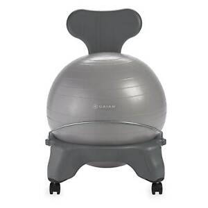 Gaiam Classic Gym Yoga Exercise Fitness Balance Ball Office Desk Chair, Gray