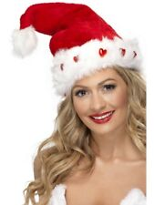 Light Up Santa Hat Christmas Adult Unisex Smiffys Fancy Dress Costume Accessrory