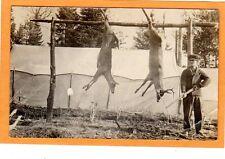 Real Photo Postcard RPPC - Hunting Hunter with Rifle and Deer