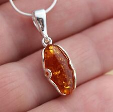 Marquise Cognac Baltic Amber  925 Sterling Silver Stylish Pendant Jewellery