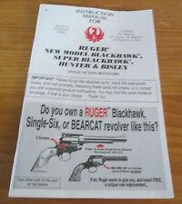 Ruger Gun Manual: New Model Blackhawk Super Blackhawk Hunter & Bisley Revolvers