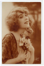 1920s Pretty FLAPPER BEAUTY Lady French Deco Glamour photo postcard