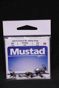 Mustad 77215 Barrel Swivel with Safety Snap - Size 20 - 9lb Test Pack of 12