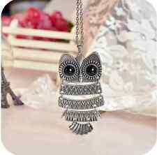 Charm Vintage Owl Pendant long Chain Sweater Necklace Jewelry Gift SILVER one hs