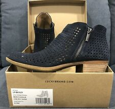 Lucky Brand 8.5 Booties Bailey Perforated Blue Brindle Ankle Boots Shoes Women's