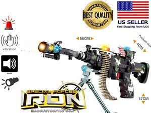 TOY Battery Electric FUN Military Machine Gun Flash Sound Vibration Light Kid 3+