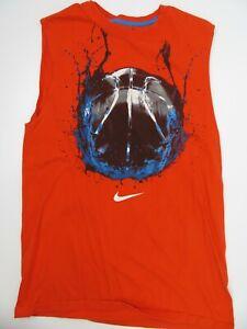 Nike Regular Fit Orange Basketball Sleeveless T-Shirt Size M