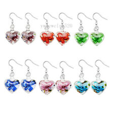 Wholesale lot 6pairs Heart 3D Murano Glass Silver Plated Earrings Jewelry  FREE