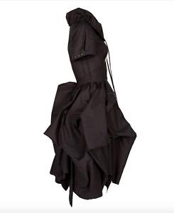 All Saints Bryony Hitch Grey Cotton Steampunk Bustle Victorian Gothic Dress UK 8