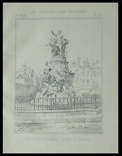 ABBEVILLE, MONUMENT AMIRAL COURBET - 1893 - PLANCHE ARCHITECTURE -