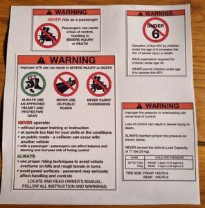 Suzuki LT50 Stickers Warning Advice Health Safety ATV Quad Sticker