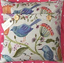 "Handmade cushion cover using Voyage Linen fabric ""Lindu"" birds & flowers"