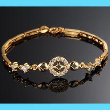 18 Quilates Oro Brazalete bañado en elegante JOYA PULSERA DE BRAZO Diamante Boda