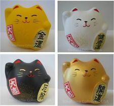 Set of 4 Japanese Maneki Neko Cat/Earthenware/Gold White Black Yellow Made Japan