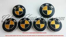 GOLD & BLACK CARBON FIBER BMW Badge Emblem Overlay HOOD TRUNK RIMS FITS ALL BMW