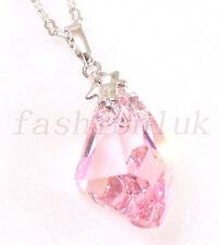 Le donne placcato in oro bianco grande Swarovski Element rosa di cristallo ART Irregolare Collana